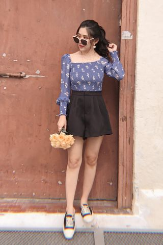 (BACKORDER) BETTER BUTTER KR A'MADE PRINTED FLORAL TOP IN BLUE