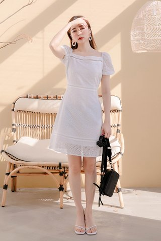 MANY MORE A'MADE KR EYELET DRESS IN WHITE