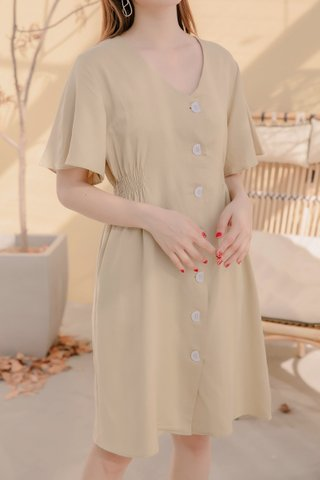 DARLING ME KR A'MADE BUTTON DOWN DRESS IN LAZY LIME