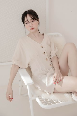 LIKE YOU KR BUTTON DOWN ROMPER IN CREAMY