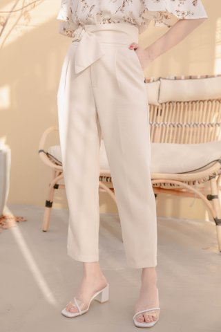 BOCY KOREA BELTED TAILORED PANTS IN CREAM