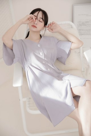 DARLING ME KR A'MADE BUTTON DOWN DRESS IN LAZY GREY
