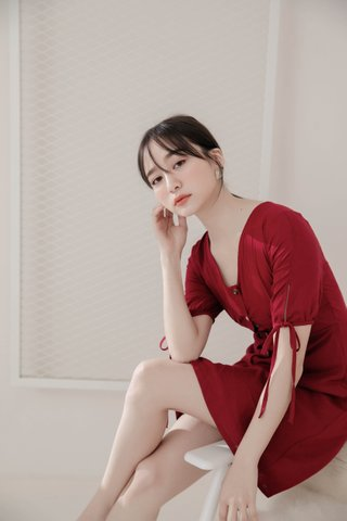 BETTER BUTTER KR A'MADE SELF -TIE DRESS IN RED
