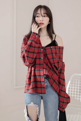 DARLING ME KR CHECK SHIRT IN RED