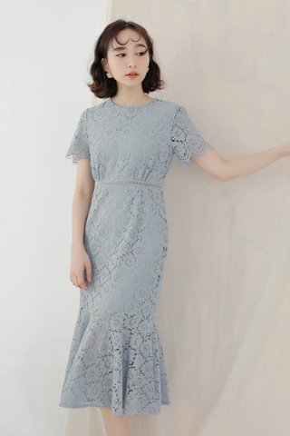HANNAH KOREA FISH TAIL LACE DRESS IN BABY BLUE
