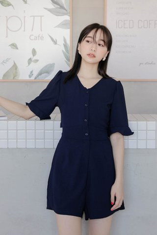 DARLING ME KR A'MADE SELF TIE ROMPER IN NAVY BLUE