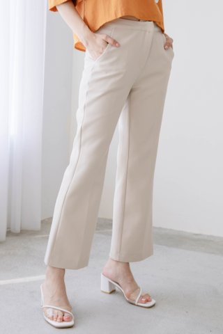 DARLING ME SPLIT HEM TAILORED PANTS IN CREAMY