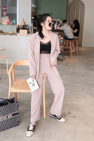 MANYMORE KR DOUBLE BREASTED BLAZER SET IN NUDE (NG SALE)