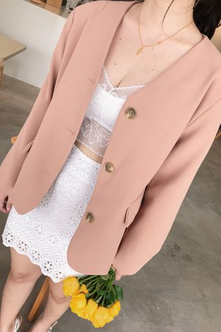 DE YOU KR V-NECK BLAZER IN DUSTY BLUSH