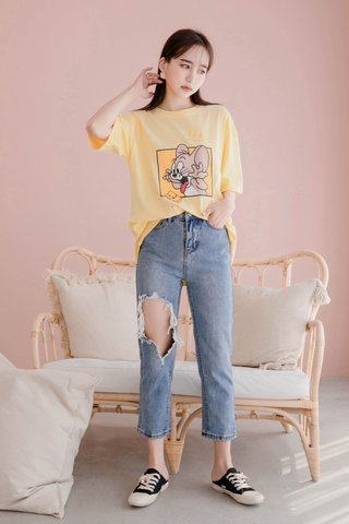 DE YOU KR SUMMER JERRY CHEESE TEE IN LAZY YELLOW