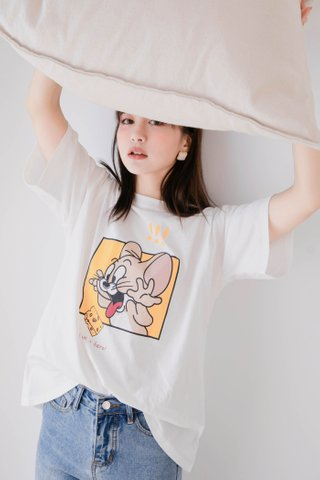 DE YOU KR SUMMER JERRY CHEESE TEE IN WHITE