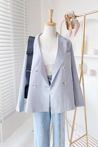 TEA TOAST KR DOUBLE BREASTED BLAZER BABY BLUE
