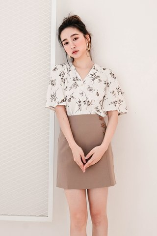 TEA TOAST KR BUTTON -5KG SKIRT IN KHAKI
