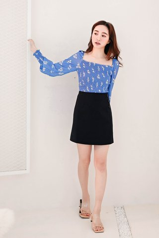 TEA TOAST KR BUTTON -5KG SKIRT IN BLACK
