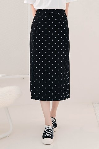 BE LITTLE KR 170CM POLKA DOT SKIRT IN BLACK