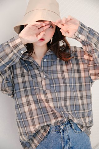 BE LITTLE KR CHECKED SHIRT IN BLUE
