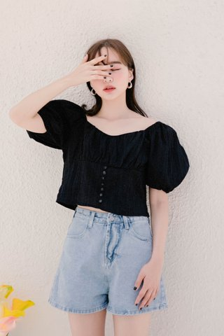 HELLO A' KR PUFFY SLEEVE TOP IN BLACK