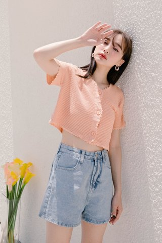 (BACKORDER) HELLO A' KR LETTUCE KNIT CROP TOP IN BABY CORAL