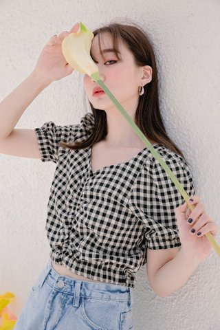 HELLO A' KR GINGHAM CROP TOP IN BLACK