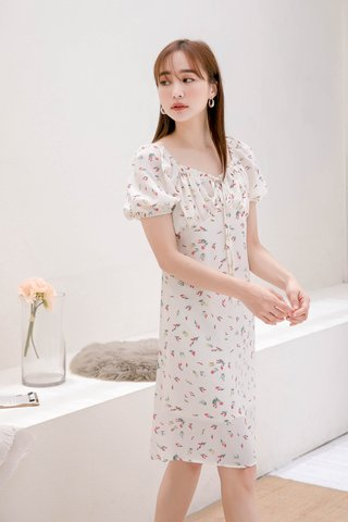 CHURROS DE KR FLORAL DRESS IN CREAM