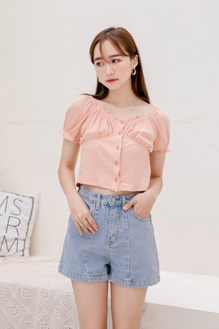 SUNDAY KR RUCHED TOP IN BABY CORAL