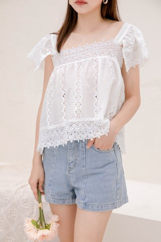 (BACKORDER) SUNDAY KR EYELET SQUARE NECK TOP IN WHITE