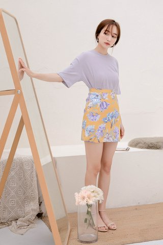 CHURROS DE KR FLORAL PRINT SKIRT IN YELLOW