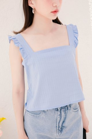 MIU DE KR RUFFLE TOP IN BABY BLUE (NG SALES)