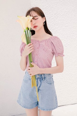 (BACKORDER) MIU DE KR DAISY TOP IN BABY PINK