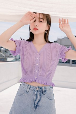 MIU DE KR RUFFLED EYELET KNIT TOP IN LILAC