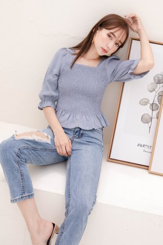 (BACKORDER) HELLO A' KR RUFFLED TOP IN BLUE