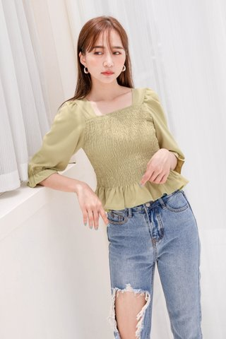 (BACKORDER) HELLO A' KR RUFFLED TOP IN MATCHA