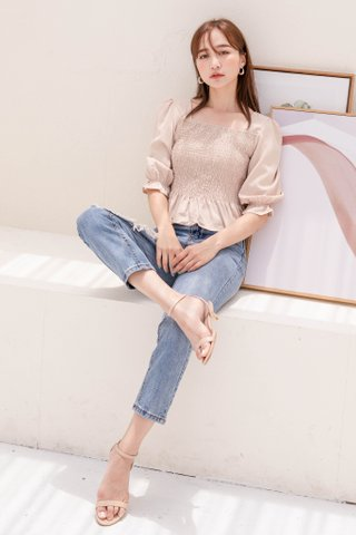 HELLO A' KR RUFFLED TOP IN NUDE