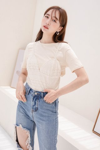 HELLO A' KR EYELET TEE SET IN BUTTER