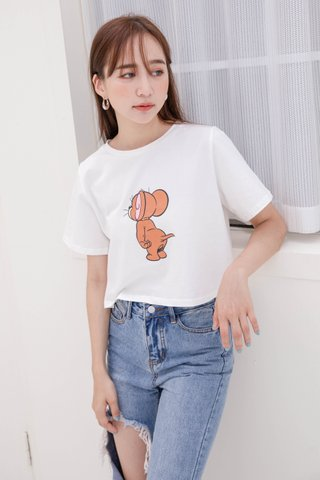 RUFF KR NAUGHTY JERRY CROP TEE IN WHITE