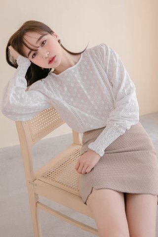 MERCI KR EYELET TOP IN WHITE (NG SALES)