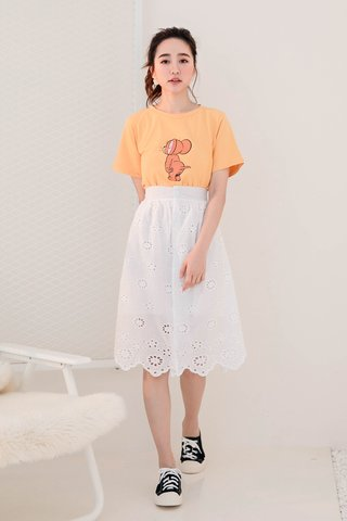 RUFF KR EYELET BUTTON SKIRT IN WHITE