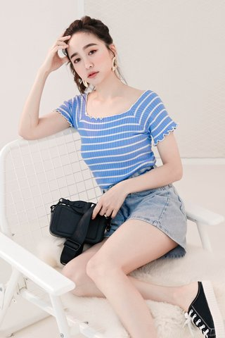 BE LITTLE KR LETTUCE HEM TOP IN BLUE