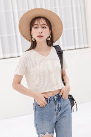 (BACKORDER) HELLO A' KR LETTUCE KNIT CROP TOP IN CREAM