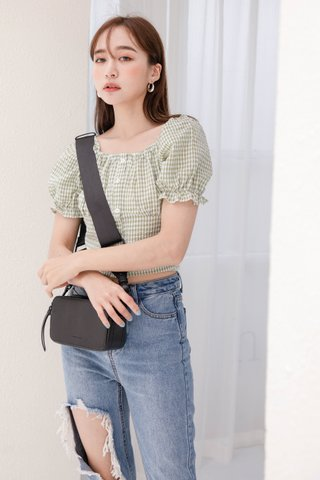 (BACKORDER) HELLO A' KR CHECKERED TOP IN BABY GREEN