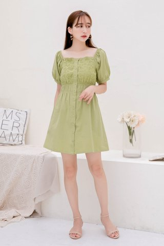 BUTTER DE KR EYELET RUFFLED 2 WAYS DRESS IN MATCHA