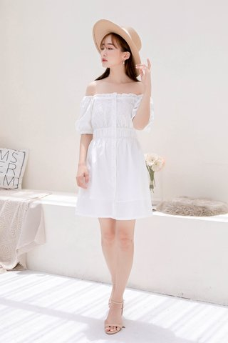 BUTTER DE KR EYELET RUFFLED 2 WAYS DRESS IN WHITE
