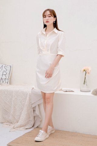 BUTTER DE KR BUTTON DOWN DRESS IN BUTTER
