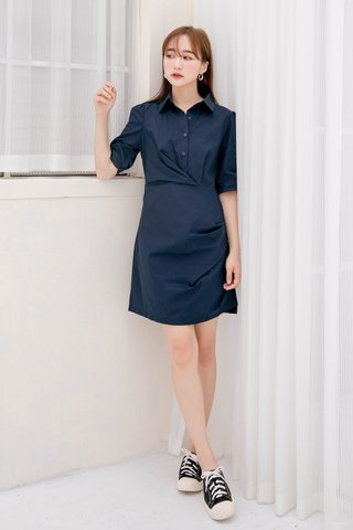 BUTTER DE KR BUTTON DOWN DRESS IN NAVY BLUE