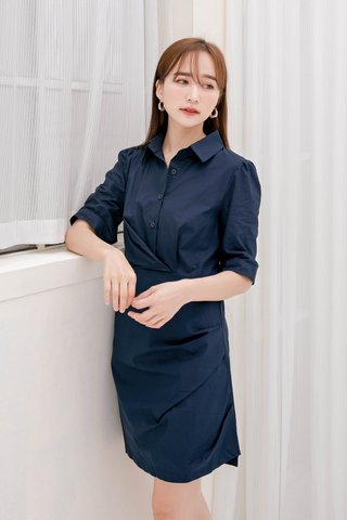 BUTTER DE KR BUTTON DOWN DRESS IN NAVY BLUE (NG SALES)