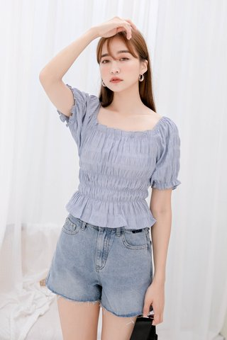BUTTER DE KR CREPE CHECKED TOP IN BLUE