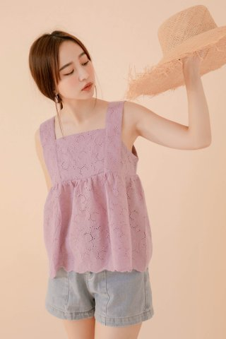 LE COUR KR EYELET BABYDOLL TOP IN LILAC