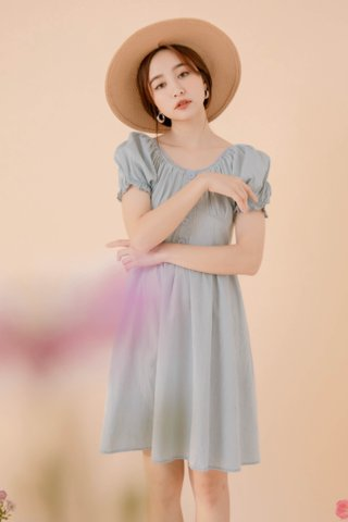PEANUT KR 2 WAYS CREPE DRESS IN BLUE