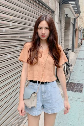 HELLO A' KR LETTUCE KNIT CROP TOP IN BABY CORAL