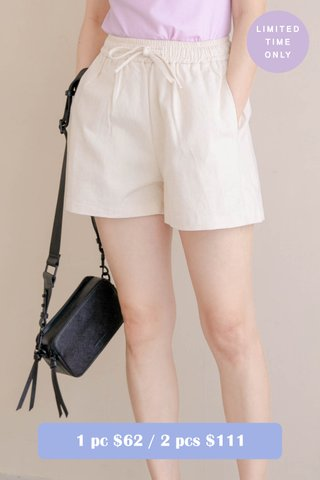 (BACKORDER) HONEY YU KR -5KG DRAWSTRING SHORTS IN CREAM